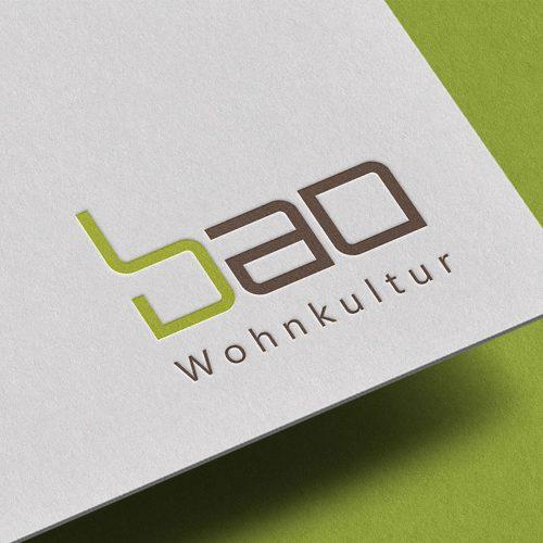 Visitenkarten-Ausschnitt mit Logo Design Bao Wohnkultur