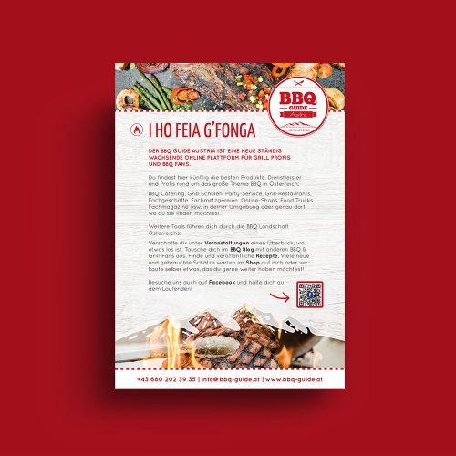 BBQ Guide Flyer auf rotem Hintergrund
