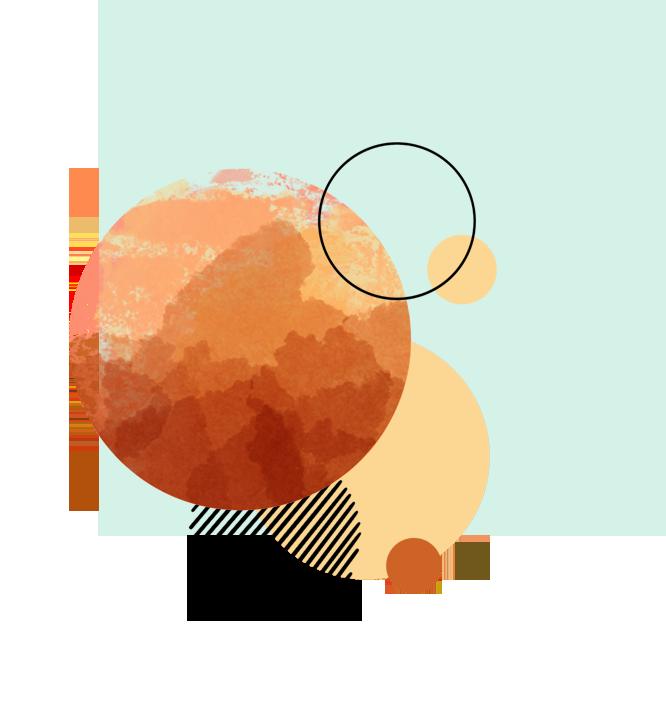 Contact Kreisformen übereinanderliegend auf grünem Hintergrund