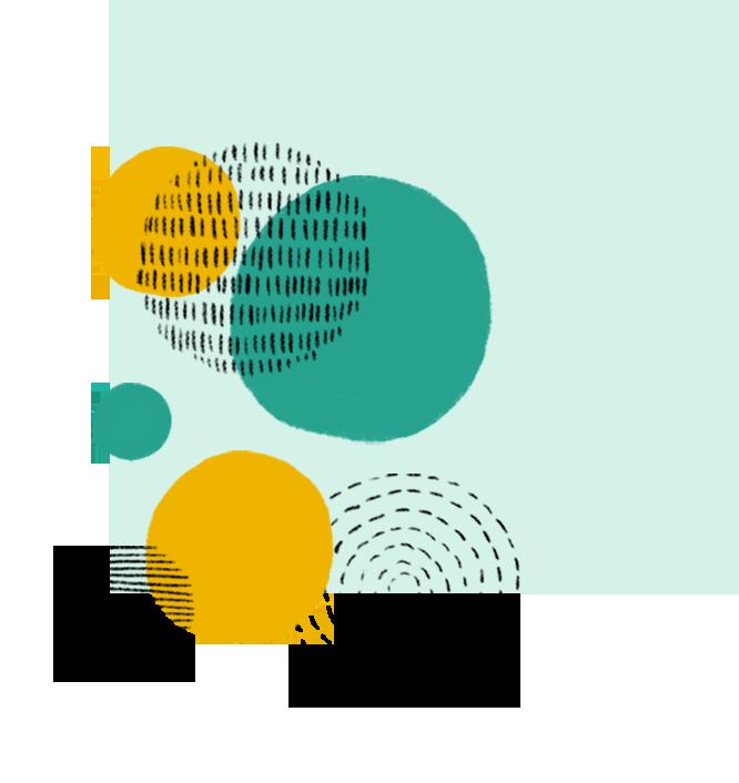 Branding, Kreisformen übereinanderliegend auf grünem Hintergrund