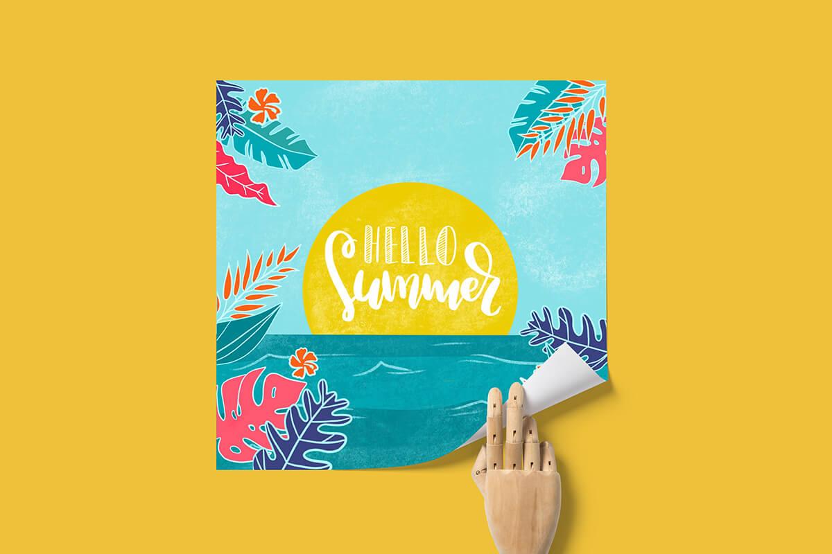 Portfolio Quadratisches Poster mit sommerlicher Illustration, aussen Palmblätter, innen Meer und sonne