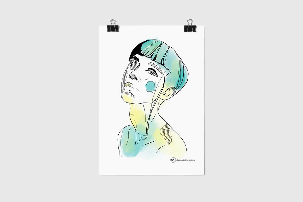 Portfolio Illustration eines Frauenkopfes auf Poster.