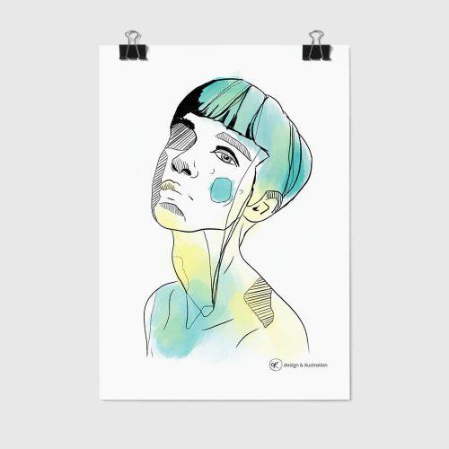 Private Portfolio Illustration eines Frauenkopfes auf Poster.