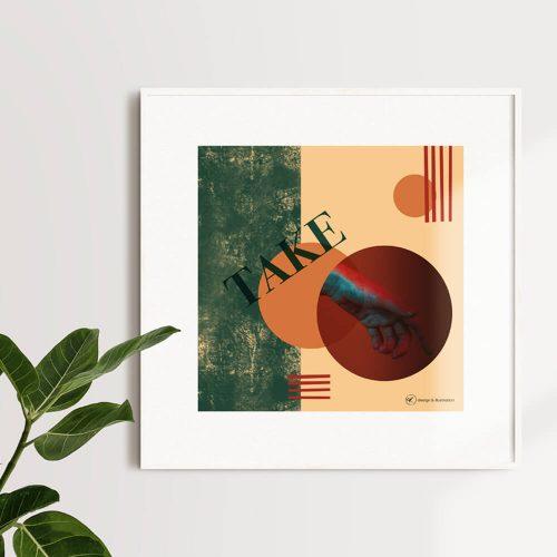 Collage Portfolio Quadratisches Bild in weißem Rahmen. Bild zeigt zwei Kreise und die da Vinci Hand