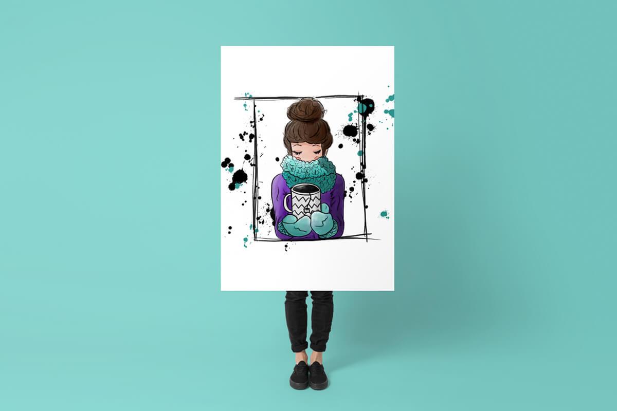 Portfolio Illustration einer Frau mit Kaffeetasse auf Poster, unter dem Poster sind reale Beine zu sehen