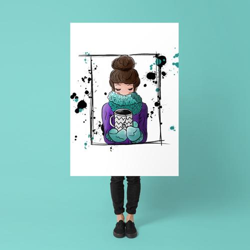 Teatime Portfolio Illustration einer Frau mit Kaffeetasse auf Poster, unter dem Poster sind reale Beine zu sehen